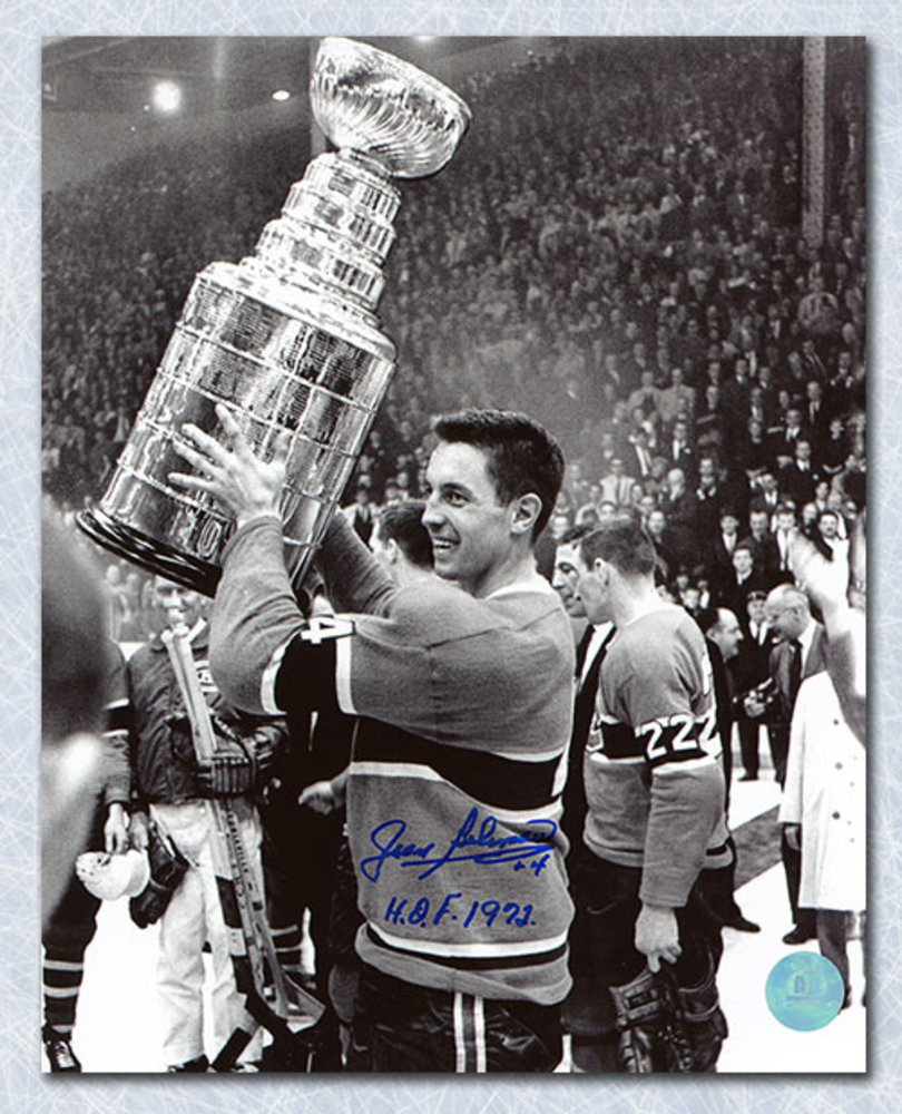 Jean Beliveau Montreal Canadiens Signed Black & White Stanley Cup 16x20 Photo
