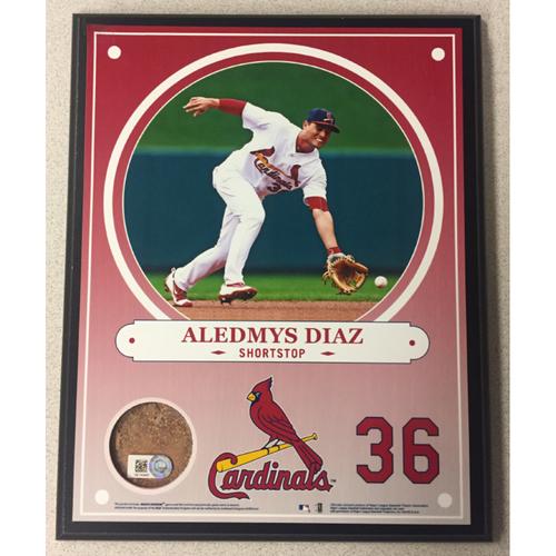 Cardinals Authentics: Aledmys Diaz Game-Used Dirt Player Plaque