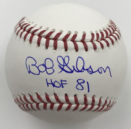 "Photo of Bob Gibson ""HOF 81"" Autographed Baseball"