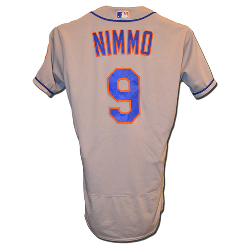 Photo of Brandon Nimmo #9 - Game Used Road Grey Jersey - Mets vs. Nationals - 9/20/18