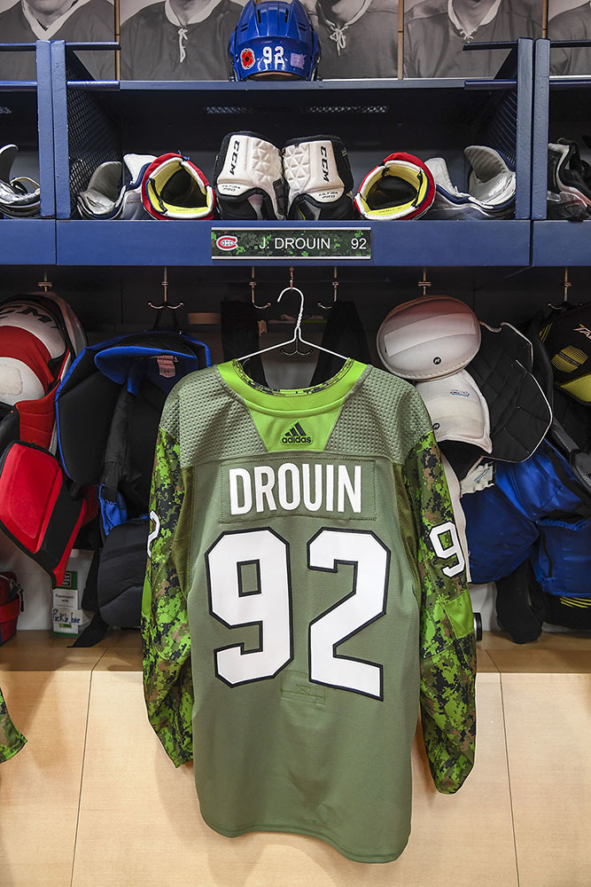 #92 Jonathan Drouin Warm-Up Worn and Autographed Military Jersey