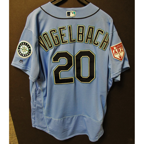Photo of Daniel Vogelbach Game Used Light Blue Spring Training Jersey 2019  Exhibition Game - SD @ SEA 3-26-2019