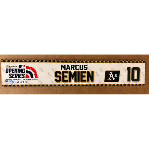 Photo of 2019 Japan Opening Day Series - Game Used Locker Tag - Marcus Semien -  Oakland Athletics