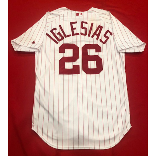 Photo of Raisel Iglesias -- 1967 Throwback Jersey (Relief Pitcher: SV-19, 1.0 IP, 0 R, 1 K) -- Game-Used for Rockies vs. Reds on July 28, 2019 -- Jersey Size: 46