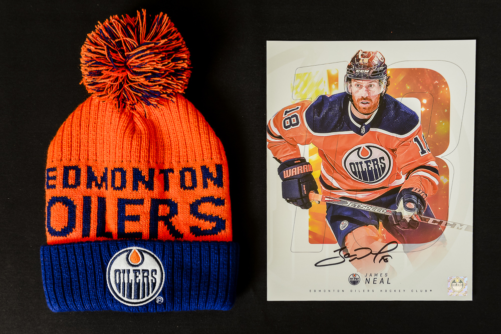 James Neal #18 - Autographed Edmonton Oilers Player Card And Ltd Edition Oilers Toque