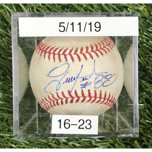 Photo of Win #16: 5/11/2019 Game-Used Baseball - Autographed by Gerardo Parra