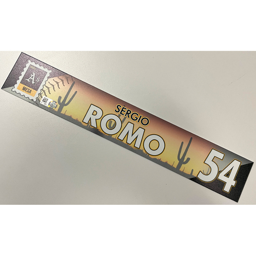 Photo of Game-Used 2021 Spring Training Locker Nameplate - Sergio Romo