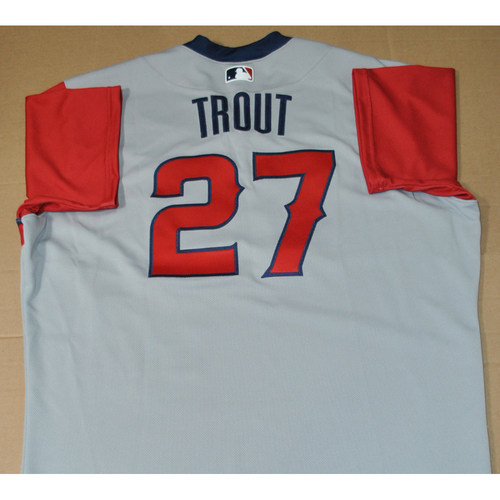 Photo of Team Issued Jersey - 2021 Little League Classic - Los Angeles Angels vs. Cleveland Indians - 8/22/2021 - West, Mike Trout #27