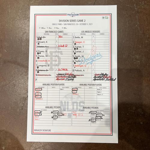 Photo of 2021 NLDS Game 2 Lineup Card - 10/9/2021 - Kevin Gausman vs. Julio Urias