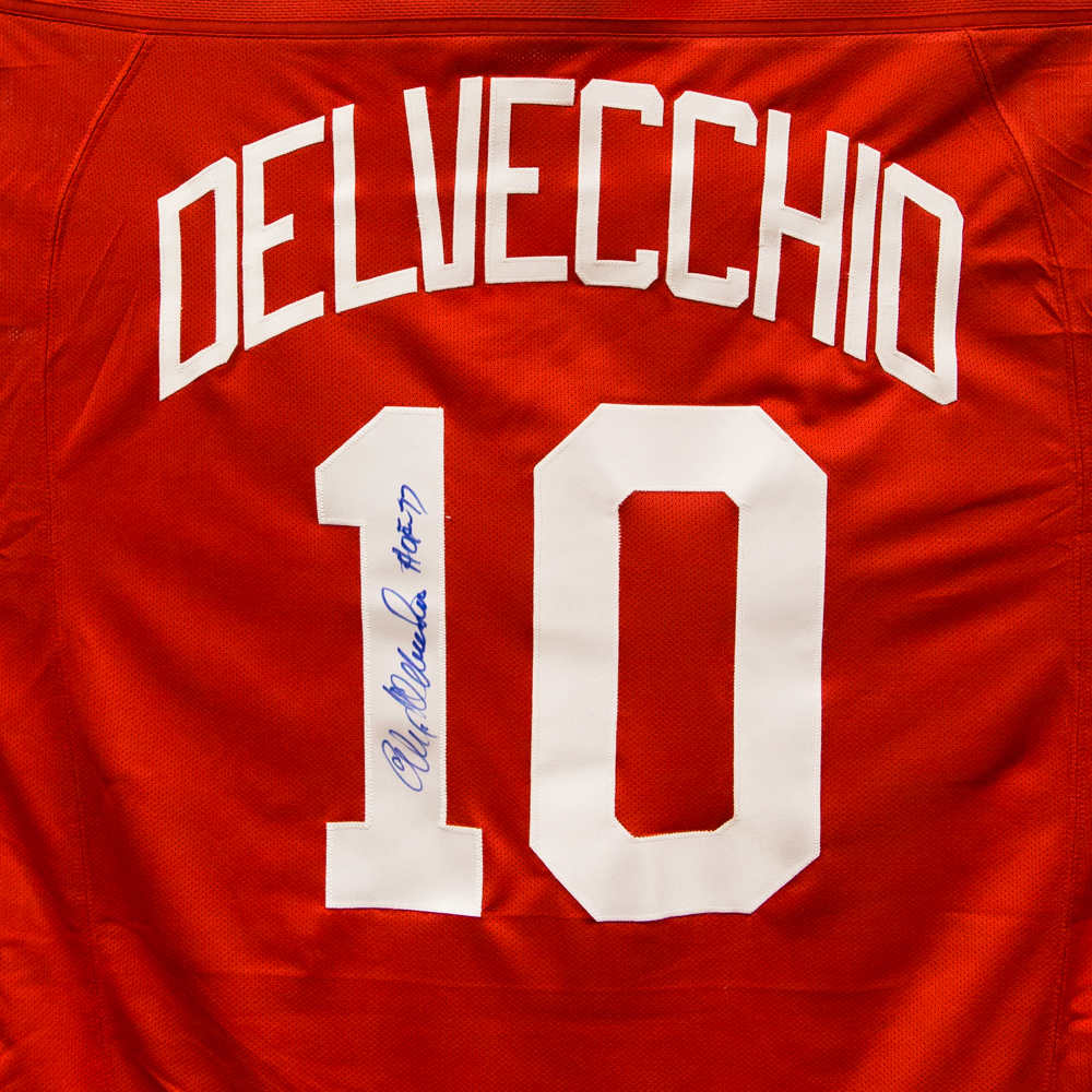 Autographed Alex Delvecchio Jersey from Nicklas Lidstrom Jersey Retirement Night - Detroit Red Wings