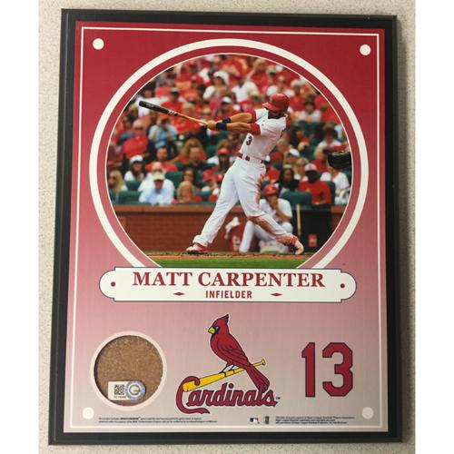 Cardinals Authentics: Matt Carpenter Game-Used Dirt Player Plaque