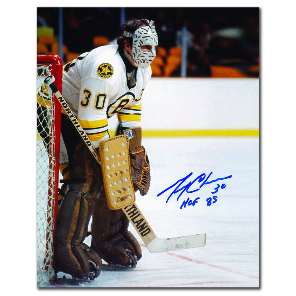 Gerry Cheevers Boston Bruins WHITE JERSEY Autographed 8x10