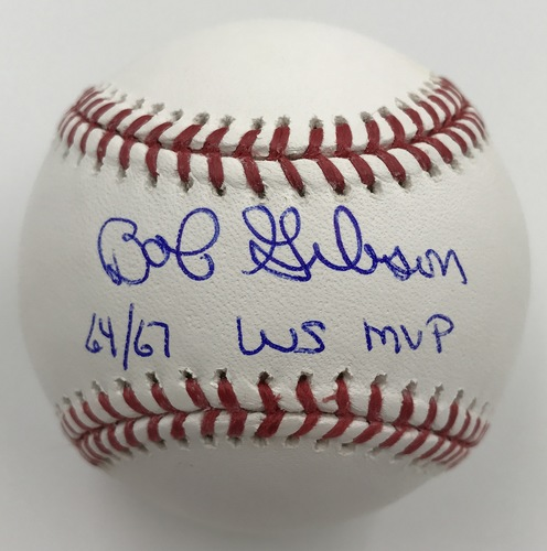 "Photo of Bob Gibson ""64/67 WS MVP"" Autographed Baseball"