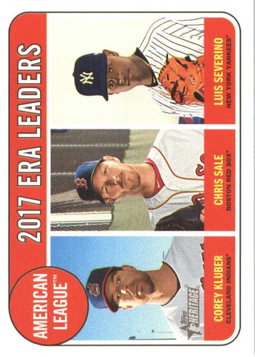 Photo of 2018 Topps Heritage #7 Corey Kluber/Chris Sale/Luis Severino LL