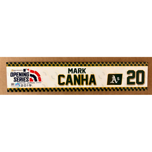Photo of 2019 Japan Opening Day Series - Game Used Locker Tag - Mark Canha -  Oakland Athletics