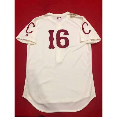 Photo of Tucker Barnhart -- Game-Used Jersey -- 1912 Throwback Game (Defensive Substitution: Went 1-for-2) -- Dodgers vs. Reds on May 19, 2019