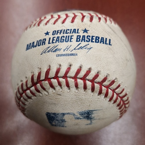 Photo of Authenticated Game Used Baseball - Single by Ichiro Suzuki against Dustin McGowan (Sept 18, 13 vs NYY). Top 9. From Mariano Rivera's Final Career Save Game, setting All-time Save Record at 652.