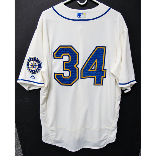 Photo of Seattle Mariners Felix Hernandez Game-Used Marineros Jersey (Salute to Latin American) 9-15-2019