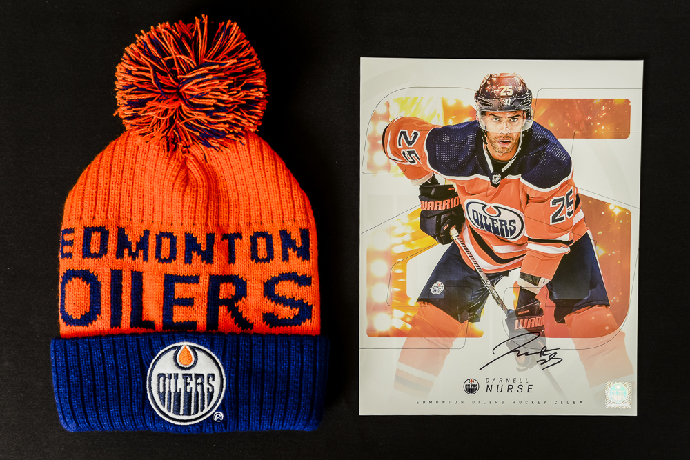 Darnell Nurse #25 - Autographed Edmonton Oilers Player Card And Ltd Edition Oilers Toque