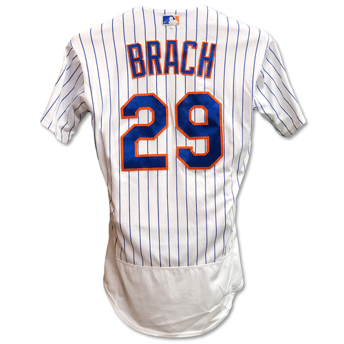 Photo of Brad Brach #29 - Game Used White Pinstripe Jersey - Alonso Breaks Single-Season Rookie HR Record - 1 IP, 1 K, 0 ER - Mets vs. Braves - 9/28/19