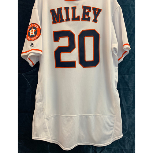 Photo of 2019 Game-Used Wade Miley Los Astros White Home Jersey - Size 48