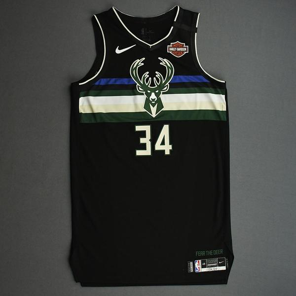 Image of Giannis Antetokounmpo - Milwaukee Bucks - 2020 NBA Paris Games - Game-Worn 2nd Half Statement Edition Jersey - Double-Double