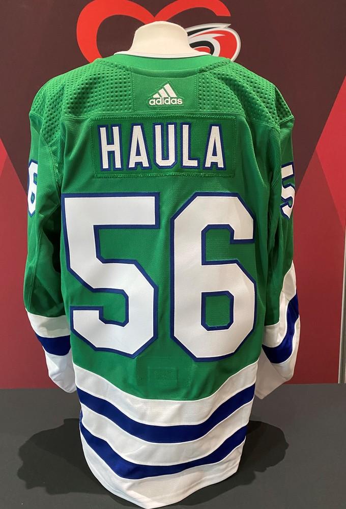 Erik Haula #56, game-worn Whalers jersey
