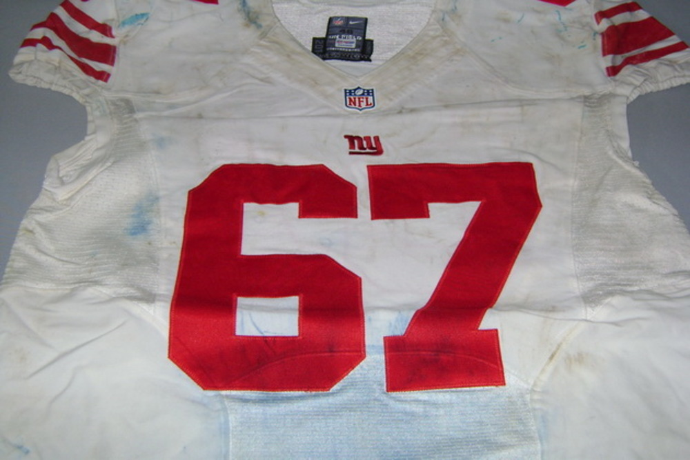 NFL INTERNATIONAL SERIES - GIANTS JUSTIN PUGH GAME WORN GIANTS JERSEY (OCTOBER 23 2016)