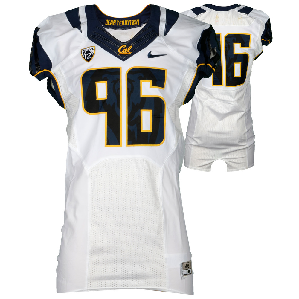 California Bears Game-Used #96 White Jersey Used During The 2015 Season - Size 46+4