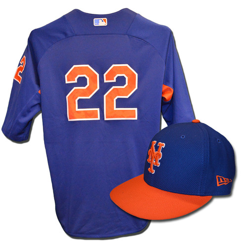Dominic Smith #22 - Team Issued Blue Batting Practice Top and Hat Combination - 2017 Season