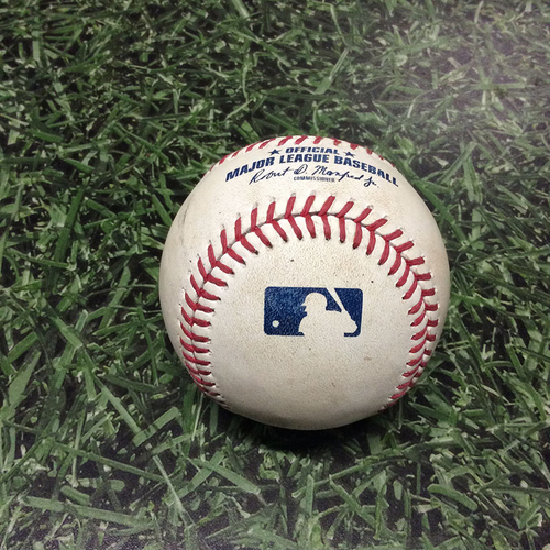 Photo of Game-Used Baseball 09/02/17 WSH@MIL - Max Scherzer to Eric Sogard: Foul Ball