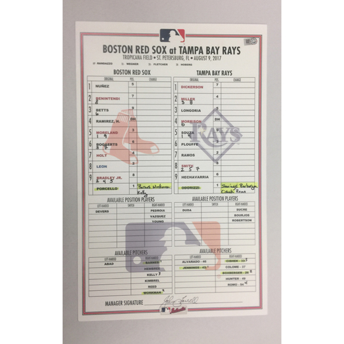 Photo of Red Sox at Rays August 9, 2017 Game-Used Lineup Card - Red Sox Win 8 to 2