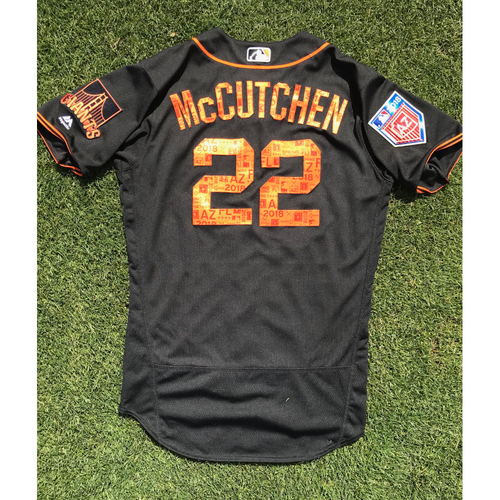 Photo of San Francisco Giants - 2018 Game Used Jersey - Andrew McCutchen Game Used Spring Training Jersey (Size 42)