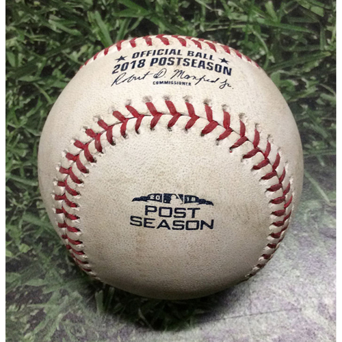 Photo of Game-Used Baseball NLDS Game 2 COL@MIL 10/05/18 - Tyler Anderson - Mike Moustakas: Foul