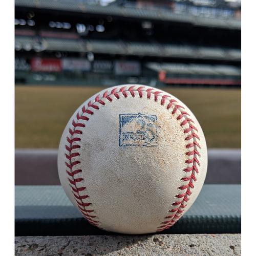 Photo of Colorado Rockies Game-Used Baseball - Almonte v. Marte - RBI Double (24) to Gonzalez, Ahmed scored - September 13, 2018