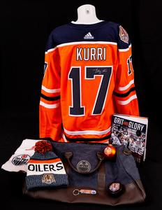Edmonton Oilers Holiday Gift Bag With Autographed Jari Kurri Orange Adidas  JerseyEdmonton Oilers Holiday Gift Bag With Autographed Jari Kurri Orange. 701585142