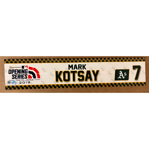 Photo of 2019 Japan Opening Day Series - Game Used Locker Tag - Mark Kotsay -  Oakland Athletics