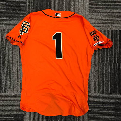 Photo of 2019 Game Used Orange Home Alt Jersey used by #1 Kevin Pillar on 4/26 vs. NYY, 6/14 vs. MIL - 3-3, HR, RBI, 2 R & 8/9 vs. PHI - 1-4, HR, 2 RBI, R - Size 44