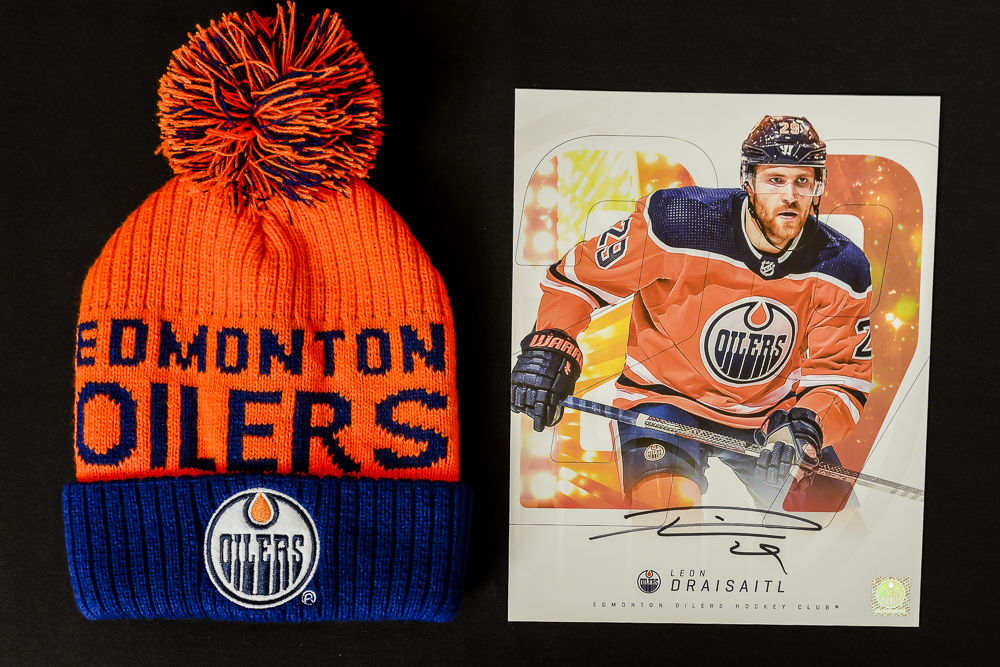 Leon Draisaitl #29 - Autographed Edmonton Oilers Player Card And Ltd Edition Oilers Toque