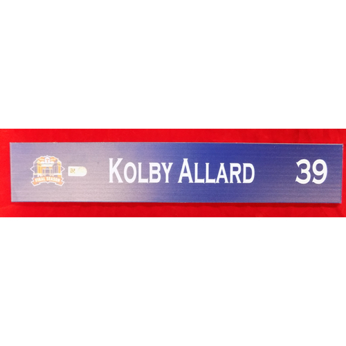 Photo of Final Season Game-Used Locker Tag - Kolby Allard - 9/13/19