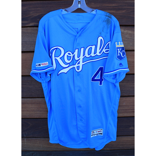 Photo of Game-Used Jersey: Alex Gordon 1,608th and 1,609th Career Hits - Final Hit of 2019 Season (MIN @ KC - 9/28/19)