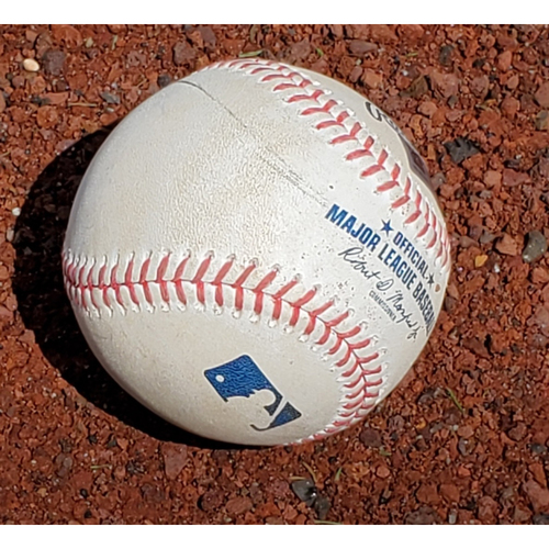 Photo of 2020 Phillies Game-Used Baseball - Alec Bohm MLB Debut (first pitch)