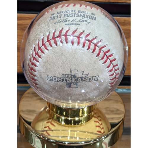 Photo of 2013 ALCS Game 6 Red Sox vs. Tigers Game Used Baseball - Brandon Workman to Torii Hunter Bunt