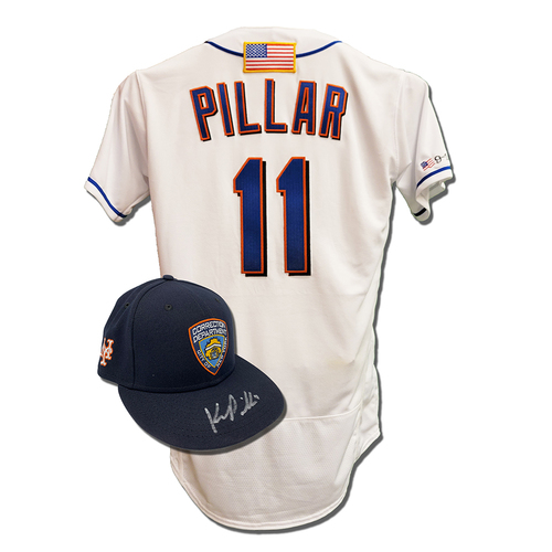 Photo of Kevin Pillar #11 - Autographed Game Used First Responder Hat and Game Used White Commemorative Jersey with American Flag Patch - Pillar Goes 2-5, 2 RBI, 1 Run Scored - Mets vs. Yankees - 9/11/2021