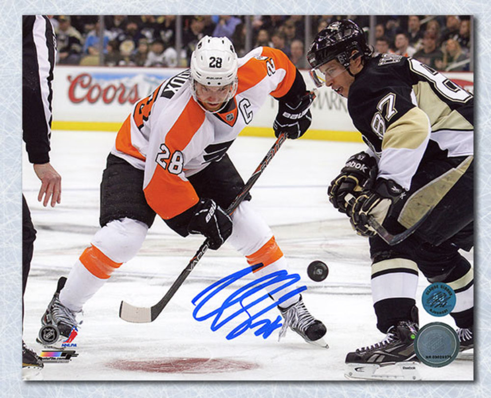 Claude Giroux Philadelphia Flyers Autographed vs Crosby Face Off 8x10 Photo