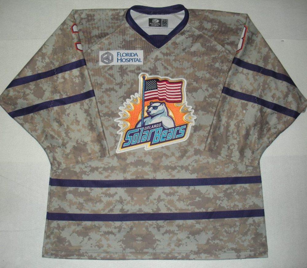 Orlando Solar Bears - Corey Fienhage - Military Appreciation Night Camo Game-Worn Jersey