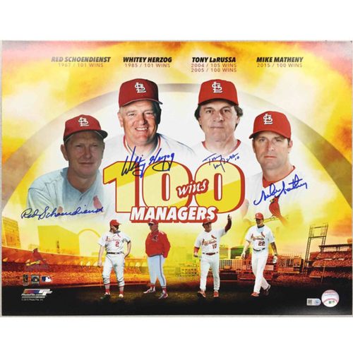 Cardinals Authentics: 100 Win Managers Autographed Print
