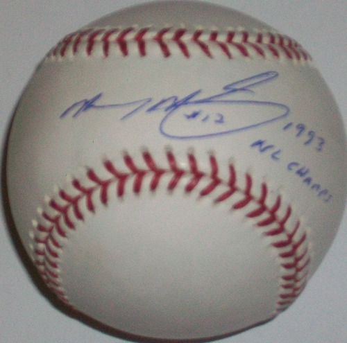 "Photo of Mickey Morandini ""93 NL Champs"" Autographed Baseball"