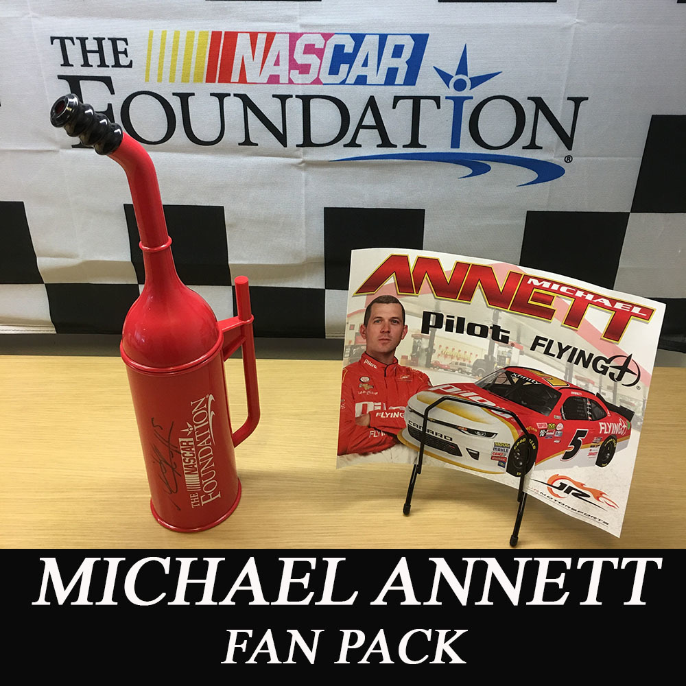 NASCAR'S Michael Annett AUTOGRAPHED NASCAR Foundation replica Mini-Gas Can and a Hero Card!