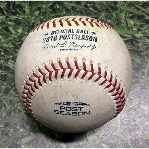 Photo of Game-Used Baseball NLDS Game 2 COL@MIL 10/05/18 - Jhoulys Chacin - Nolan Arenado: Foul